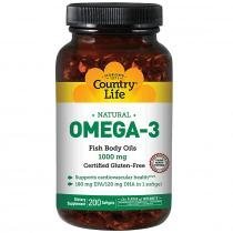 Omega 3 1000mg - Country Life - 200 Softgels -