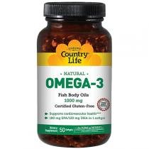 Omega 3 1000mg - Country Life - 50 Softgels -