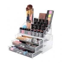 Organizador porta maquiagem de acrilico com 3 gavetas maleta para cosmeticos batom pincel e joias em - Faça  resolva