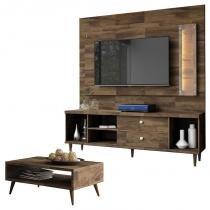 Painel para TV com Rack Bancada Harmonize e Mesa de Centro Lucy Deck  HB Móveis - Hb moveis