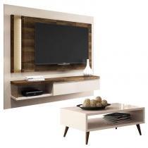 Painel para TV Home Suspenso Evoluto e Mesa de Centro Lucy Off White  HB Móveis - Hb moveis