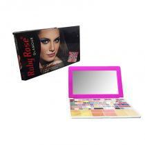 Paleta de Maquiagem Tipo Notebook 75 Sombras Pincel Ruby Rose Roxa (HB-9334) -