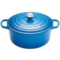 Panela de ferro redonda Signature Le Creuset azul marseille 26CM 5,4L - 25272 -