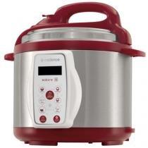 Panela de Pressão Elétrica Cadence Sabore 800W - 4L Inox e Vermelho