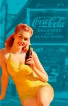 Pano de prato algodao coca-cola pin up yellow bathing - Coke