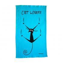 Pano de Prato Cat Lovers Algodão 68X40 Azul Passaumpano - Passaumpano