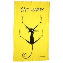 Pano de Prato Cat Lovers Amarelo - PASSAUMPANO