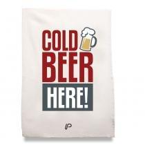 Pano de prato cold beer branco - Que cozinha