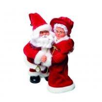 Papai E Mamãe Noel Musical Decoração Natal A Pilha Vermelha - Cromus