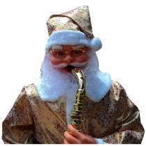 Papai noel animado dança toca sax 1,80m bi-volt dourado cbrn0630 cd1498 - Commerce brasil