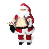 Papai Noel Arcodeon Musical Natal 42 X 21 Cm Pilha Vermelha - Cromus