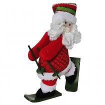 Papai noel de pelúcia com esqui com 30cm de altura cbrn0326 cd0047 - Commerce brasil