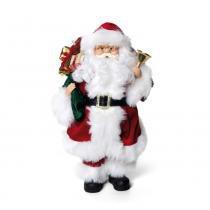 Papai Noel Em Pé Decorativo Natal 42 X 24 Cm Vermelha - Cromus