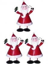 Papai Noel Natal Kit Com 3 Uni Decoracao Enfeite - Braslu