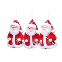 Papai Noel P  Pendurar Decoração Árvore Natal 3 Pçs 10x6Cm Vermelha - Cromus a85458dacee