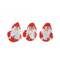 Papai Noel P/ Pendurar Decoração Árvore Natal 3 Pçs 9x7Cm Vermelha - Cromus