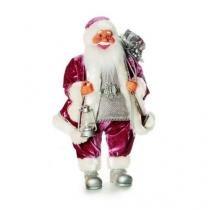 Papai Noel Veludo Grande Natal Rosa  60 X 40 Cm - Cromus