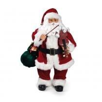 Papai Noel Violino Musical Natal 63 X 36 Cm Pilha Vermelha - Cromus
