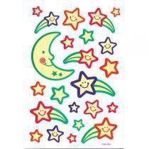 Papel Adesivo Parede Luminoso Lua / Estrelas Com 3 Unidades Toke E Crie -