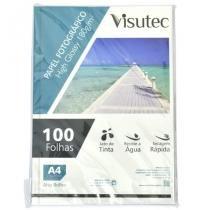 Papel fotográfico glossy a4 180gr - pacote com 100 folhas - visutec -