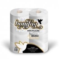 Papel Higiênico Bonifaz Branco 100 Celulose Rolão Institucional 300 M c/ 8 Unidades -