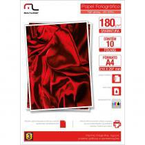 Papel Photo Glossy Multilaser 180Gr Tam.A4 C/10Fls -
