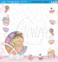 Papel Scrapbook Dupla Face Bebê Carrinho SD-050 - Litoarte -