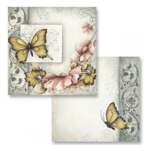 Papel Scrapbook Dupla Face Borboleta Flores LSCD-136 - Litocart -
