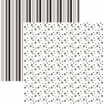 Papel Scrapbook Duplo Multitons Poá e Listras Grandes Preto e Branco KFSB379 By Vlady  Toke e Crie - Toke e Crie