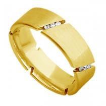 Par de Aliança de Casamento em Ouro 18k Acetinada com e sem Diamantes ar071 Joiasgold