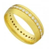 Par de Aliança de Casamento em Ouro 18k Acetinada com e sem Diamantes ea2f60 - Joiasgold