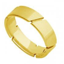 Par de Aliança de Casamento em Ouro 18k Acetinada com Frisos ar071 - Joiasgold