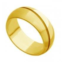 Par de Aliança de Casamento em Ouro 18k Grossa com Frisos ar074 - Joiasgold