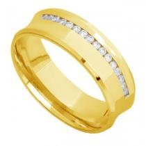 Par de Alianças de Casamento Ouro 18K Côncavas Lisa e com Diamantes eac60a - Joiasgold