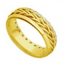 Par de Alianças de Casamento Ouro 18K Trançada com e sem Diamantes - Joiasgold
