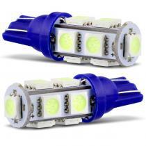 Par Lâmpada 9 LEDS T10 4,5W 12V Azul Gelo Aplicação Farol Meia Luz - Mixcom