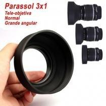 Parassol de Borracha 3Way para Objetiva DSLR - 62mm - G/A, Normal e Tele - Fotobestway