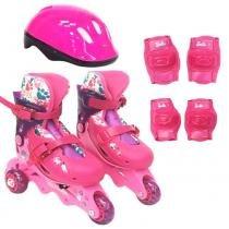 fc4318ad9 Patins Ajustáveis com Kit de Segurança - 3 Rodas - Tamanho 29 a 32 - Barbie
