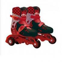 Patins ajustavel ladybug 3 rodas com kit de segurança 29-32 fun 8108-1 - Fun