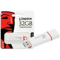 Pen Drive Kingston 32GB Datatraveler G4 USB 3.0 Branco e Vemelho - DTIG4/32GB -