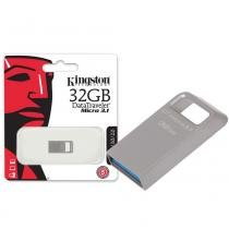 Pen Drive Kingston 32GB Datatraveler Micro 3.1 USB 3.0 Prata - DTMC3/32GB -