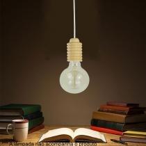Pendente Fit Branco e Madeira - Markine Mobilier - Bivolt - Premier Iluminação