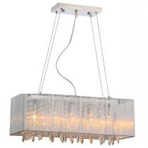 Pendente rammer 70cm retangular e-27 5 lamp. max 60w prata - Home line