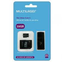 Pendrive/ Adaptador Sd/ Cartao De Memoria 16gb Classe 10 3x1 Mc112 - Multilaser