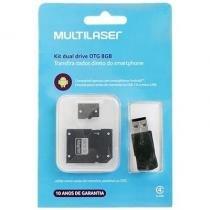 Pendrive Kit dual drive OTG 8GB Multilaser - MC130 -