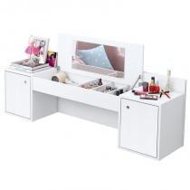 Penteadeira Camarim Suspenso Atração com Espelho e 02 Portas Branco Texturizado - Albatroz -