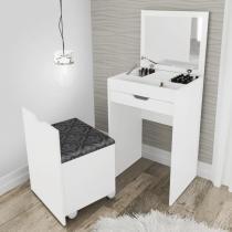 Penteadeira com 1 gaveta e puff baú - branco/ tecido 369 - Tecno mobili