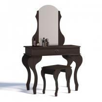 Penteadeira com Espelho 1 Gaveta e Banqueta Lilly Imcal Castanho -
