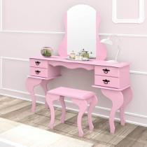 Penteadeira com Espelho 4 Gavetas e Banqueta Charlotte Imcal Rosa -