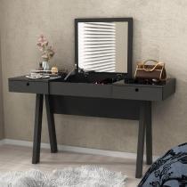 Penteadeira Escrivaninha Com Espelho Preta - Preto - Tecno Mobili